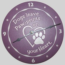 Paw-prints on your heart purple clock
