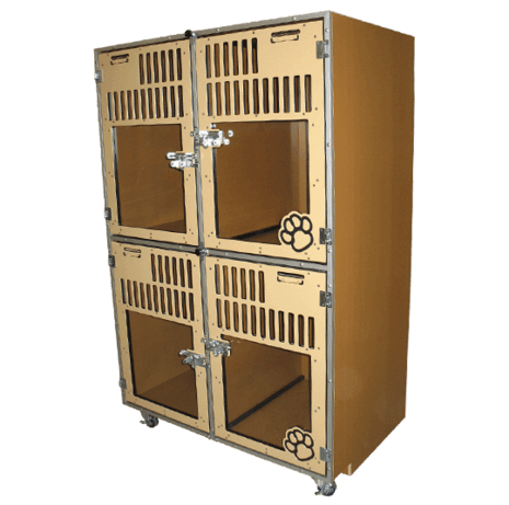 Stacked kennel cages made by Gator Kennels