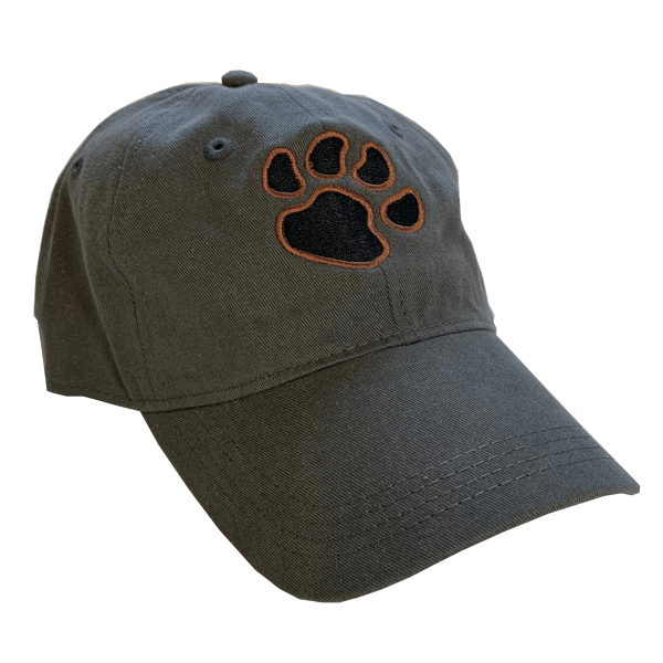 Grey Hat with Paw-Print in Rust Orange